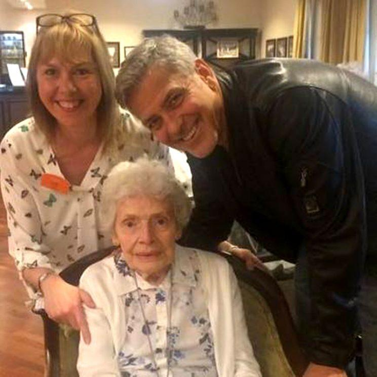 George Clooney visited a longtime fan in an assisted living home. (Photo: Facebook)