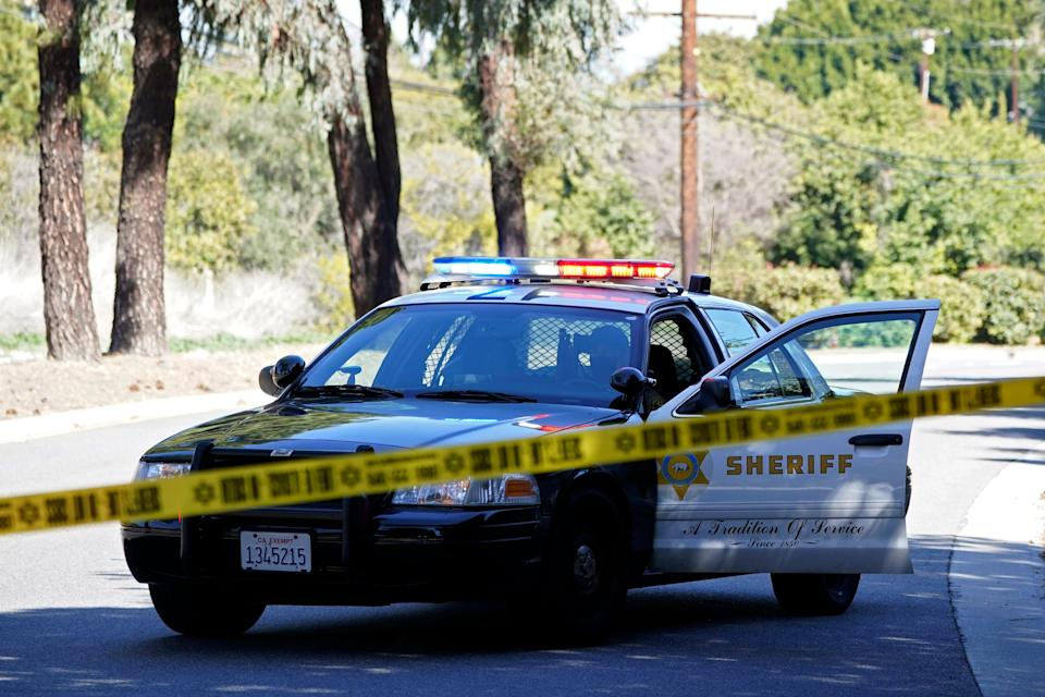 A police car in a suburb of Los Angeles in February 2021.
