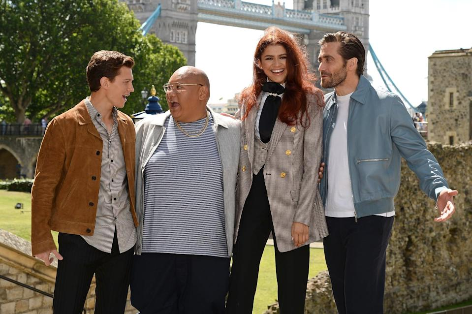 LONDON, ENGLAND - JUNE 17: Tom Holland (Peter Parker / Spiderman),  Jacob Batalon (Ned Leeds), Zendaya (MJ), and Jake Gyllenhaal (Quentin Beck / Mysterio) attend the Spider-Man: Far From Home London photo call at Tower of London one of the films iconic locations on June 17, 2019 in London, England. (Photo by Jeff Spicer/Getty Images for Sony)
