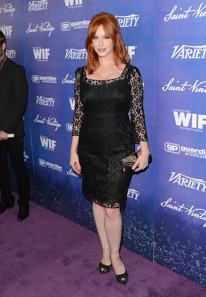 Actress Christina Hendricks arrives at the Variety and Women in Film Pre-Emmy Event presented by Saint Vintage at Montage Beverly Hills on September 21, 2012, in Beverly Hills, California.