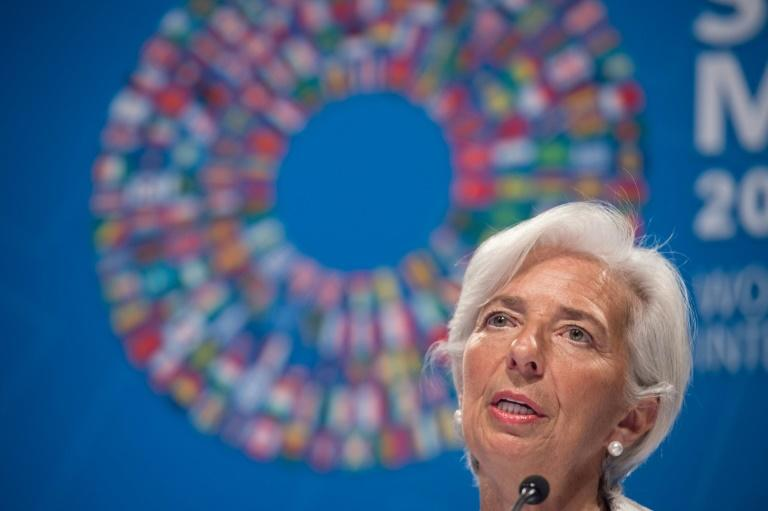 International Monetary Fund (IMF) Managing Director Christine Lagarde speaks during the IMF press conference at the IMF/WB Spring meetings in Washington, DC, on April 20, 2017