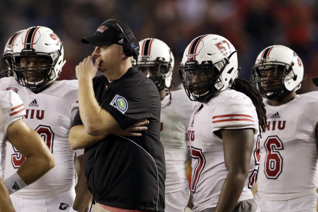 Northern Illinois head coach Rod Carey looks on from the sidelines during the second half of an NCAA college football game against San Diego State Saturday, Sept. 30, 2017, in San Diego. (AP Photo/Gregory Bull)