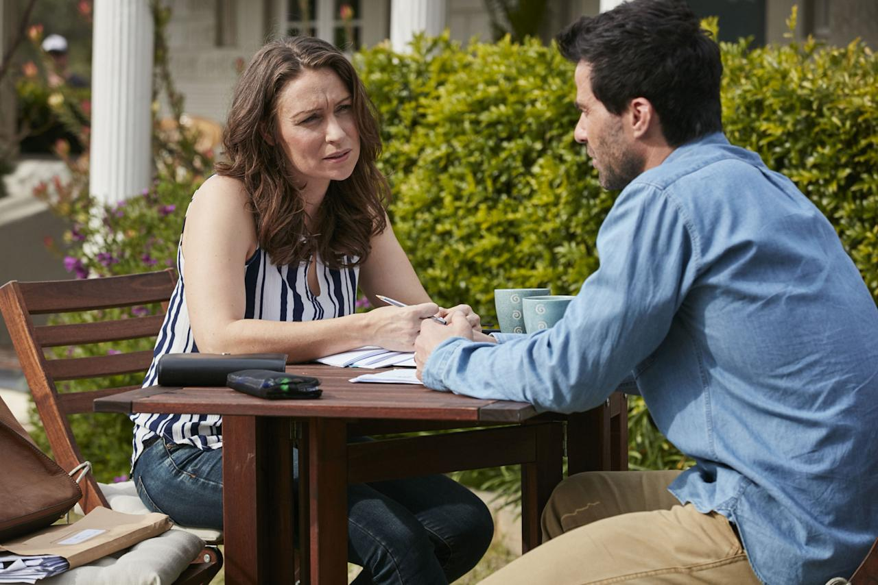 <p>She's pregnant but has told Heath that she doesn't want to keep the baby, remembering the pain of losing Rocco and nearly dying giving birth to him.</p>