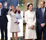 <p>Middleton first wore this ivory Catherine Walker coat during the royal tour of Canada in October 2016, but re-wore the elegant number with a pillbox hat for Easter Day Service in 2017. </p>
