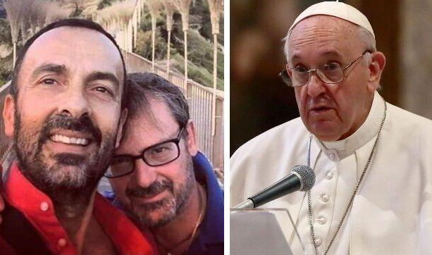 Andrea Rubera e il marito Dario De Gregorio; Papa Francesco (Photo: facebook - getty)