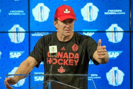 FILE PHOTO: Sep 5, 2016; Ottawa, ON, Canada; Canada head coach Mike Babcock meets with the media following a practice for the World Cup of Hockey at Canadian Tire Centre. Mandatory Credit: Marc DesRosiers-USA TODAY Sports/File Photo