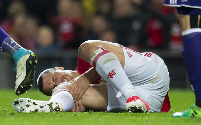 Zlatan Ibrahimovic suffered injury in the 90th minute - Rex Features