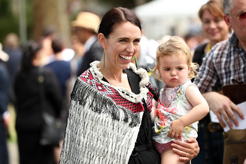 New Zealand Prime Minister Jacinda Ardern and her daughter Neve Gayford at the upper Treaty grounds at Waitangi on February 04, 2020 in Waitangi, New Zealand.