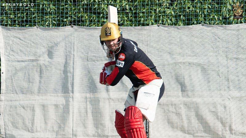 AB de Villiers in the nets ahead of IPL 2020 [PC: RCB Twitter]