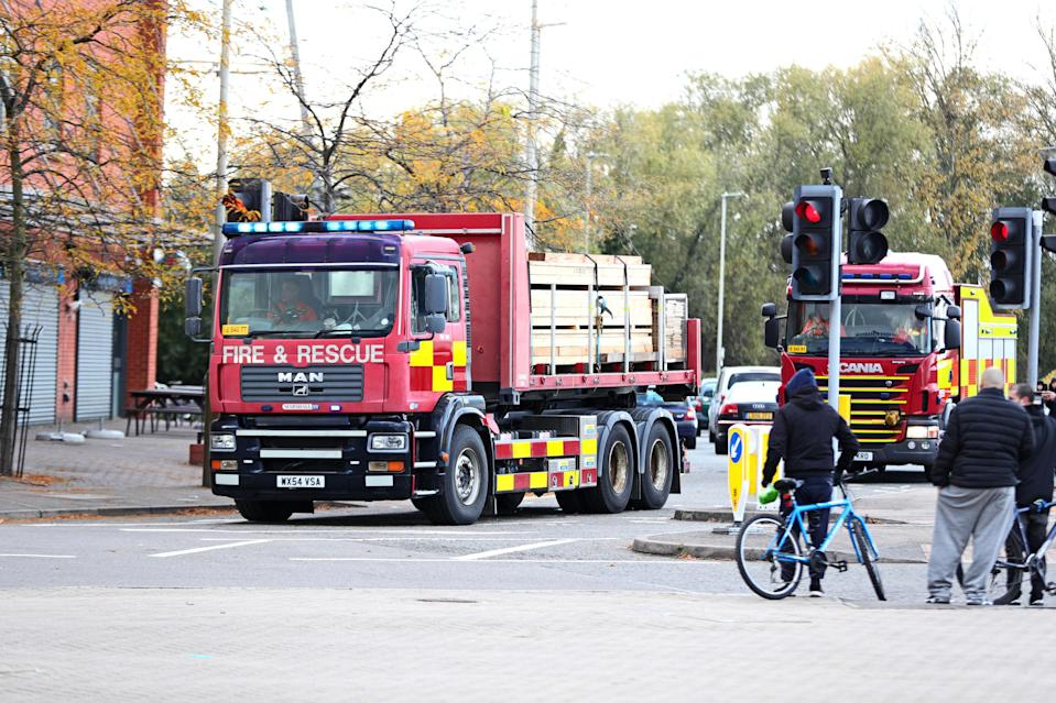 Fire service equipment arrives outside the King Power Stadium in Leicester (Aaron Chown/PA Wire)