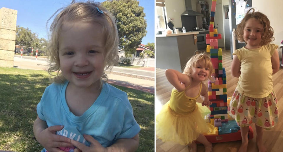 Lyla is now three years old and thankfully has no long-term affects of her illness as a baby. She's pictured with her older sister, Chloe (right). Source: Megan Cockburn
