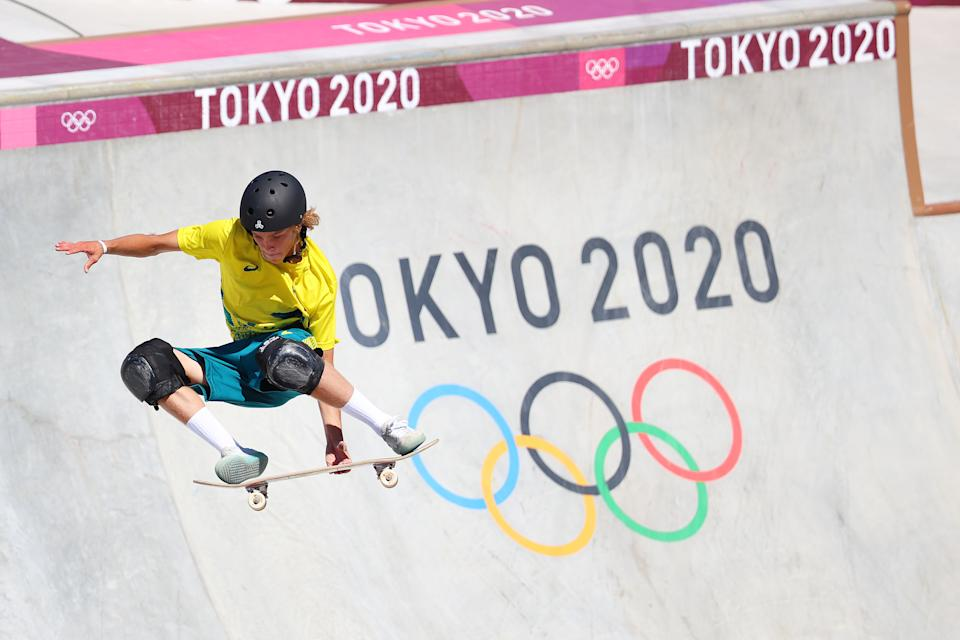 TOKYO, JAPAN - AUGUST 05: Keegan Palmer of Team Australia competes during the Men's Park Final on day thirteen of the Tokyo 2020 Olympic Games at Ariake Urban Sports Park on August 05, 2021 in Tokyo, Japan. (Photo by Abbie Parr/Getty Images)