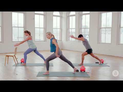 """<p>Clear, calm instructions from Catie will guide you through this half-hour barre workout targeting your whole body. You'll need to grab a yoga mat, chair, light hand weights, and a small ball before you begin. (Missing equipment? Try subbing a couple of soup cans and a rolled-up towel.)</p><p><a href=""""https://www.youtube.com/watch?v=9x9g7-UZXes"""" rel=""""nofollow noopener"""" target=""""_blank"""" data-ylk=""""slk:See the original post on Youtube"""" class=""""link rapid-noclick-resp"""">See the original post on Youtube</a></p>"""