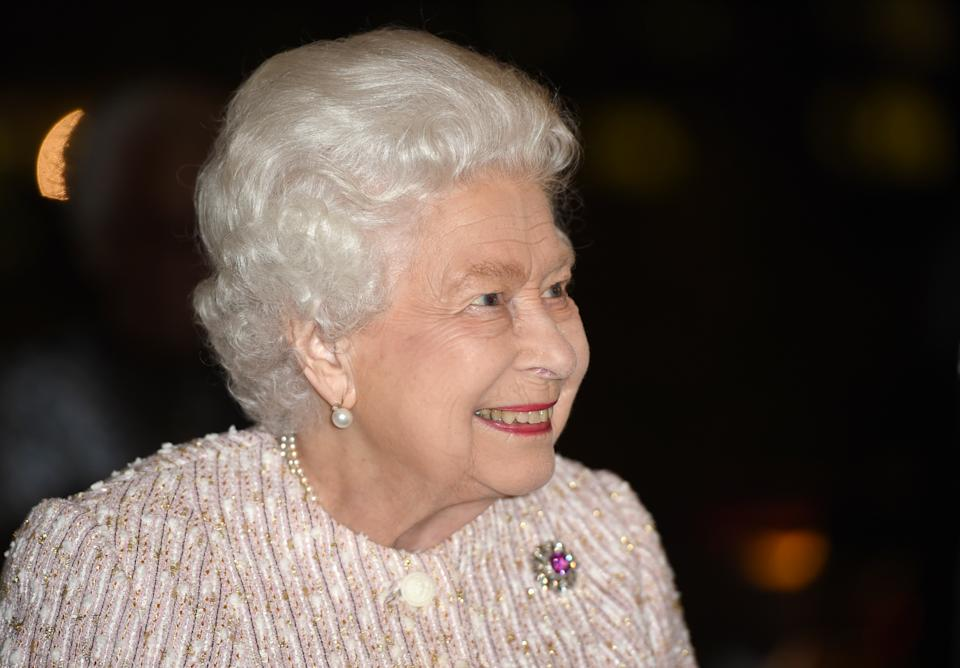 LONDON COLNEY, ENGLAND - NOVEMBER 20: Queen Elizabeth II presents the Chatham House Prize 2019 to Sir David Attenborough (not pictured) at the Royal institute of International Affairs, Chatham House on November 20, 2019 in London Colney, England. (Photo by Eddie Mulholland - WPA Pool/Getty Images)