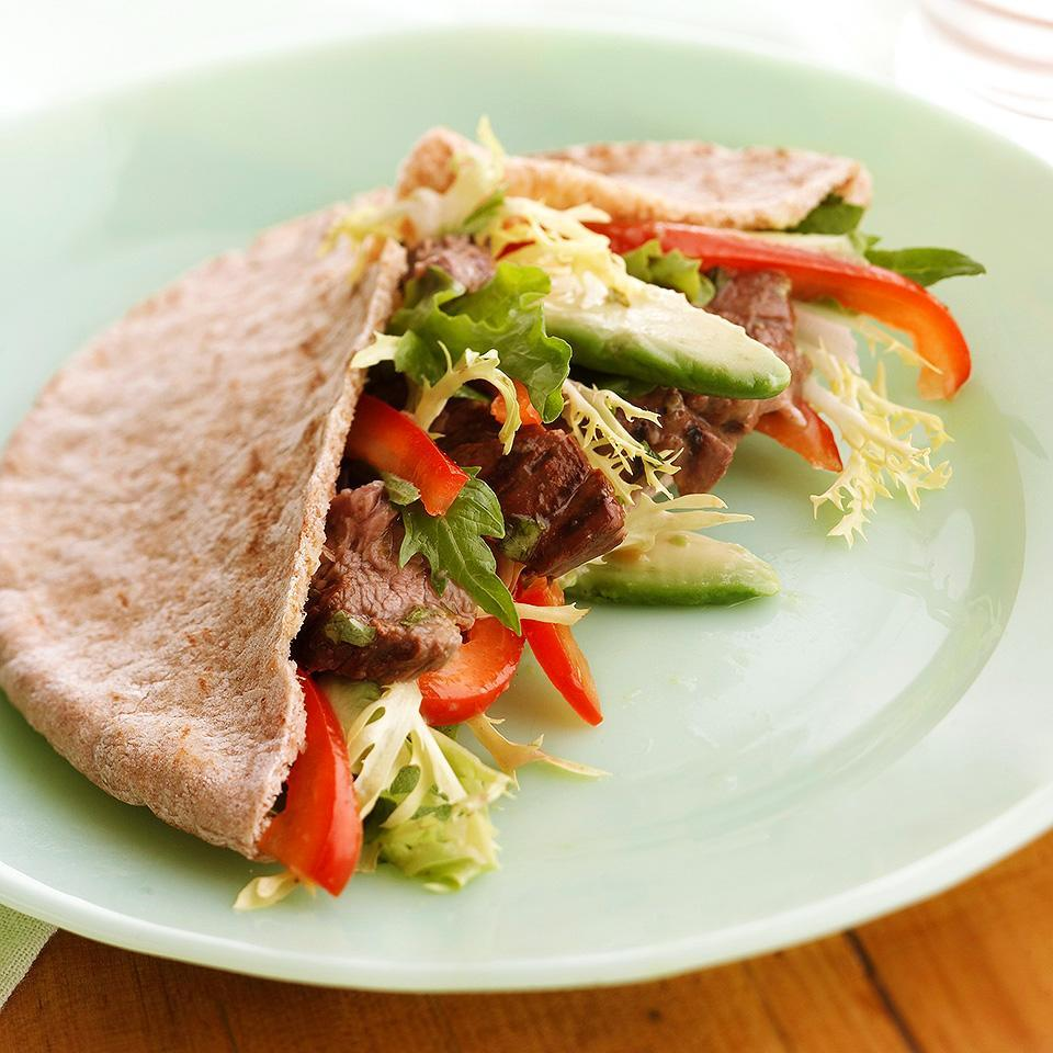 """<p>Allow the beef to marinate for 24 hours for maximum flavor. <a href=""""http://www.eatingwell.com/recipe/266966/grilled-beef-and-avocado-pitas/"""" rel=""""nofollow noopener"""" target=""""_blank"""" data-ylk=""""slk:View recipe"""" class=""""link rapid-noclick-resp""""> View recipe </a></p>"""