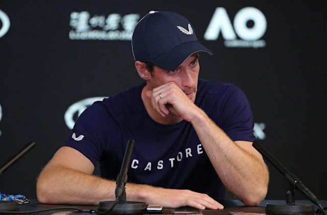 "A distraught <a class=""link rapid-noclick-resp"" href=""/olympics/rio-2016/a/1211276/"" data-ylk=""slk:Andy Murray"">Andy Murray</a> delivered the surprising news of his impending retirement at a media conference Thursday. (Getty)"