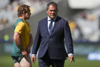 Australia's rugby coach Dave Rennie watches his players warm up ahead of the Rugby Championship game between the All Blacks and the Wallabies in Perth, Australia, Sunday, Sept. 5, 2021. (AP Photo/Gary Day)