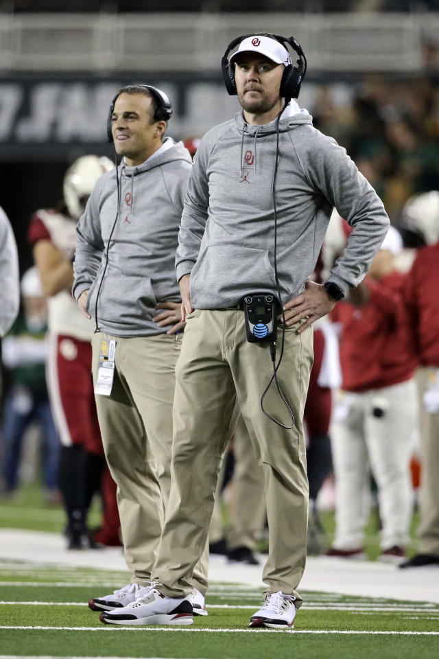 Oklahoma head coach Lincoln Riley looks up at the scoreboard during the first half of an NCAA college football game against Baylor in Waco, Texas, Saturday, Nov. 16, 2019. (AP Photo/Ray Carlin)