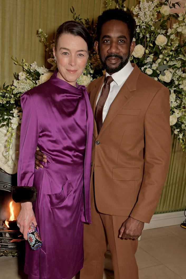 LONDON, ENGLAND - FEBRUARY 02:  Olivia Williams and Rhashan Stone attend the British Vogue and Tiffany & Co. Fashion and Film Party at Annabel's on February 2, 2020 in London, England. (Photo by David M. Benett/Dave Benett/Getty Images)