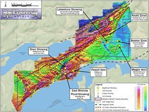 Geophysical and structural interpretation map for the Starr Project including resultant drill target areas