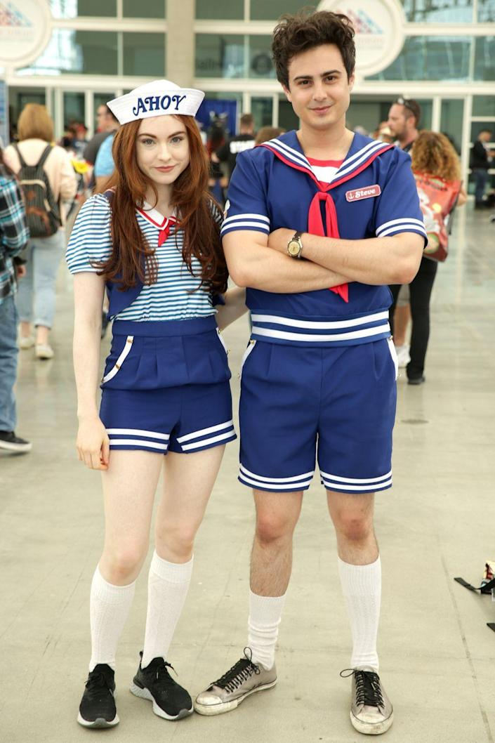 """<p>Even if people don't recognize Steve and Robin's Scoops Ahoy uniforms from <em>Stranger Things</em>, you two will still make a pair of adorable sailors. </p><p><a class=""""link rapid-noclick-resp"""" href=""""https://www.amazon.com/Forum-Novelties-105344-Costume-Accessory/dp/B000F3KOV2?tag=syn-yahoo-20&ascsubtag=%5Bartid%7C10070.g.1923%5Bsrc%7Cyahoo-us"""" rel=""""nofollow noopener"""" target=""""_blank"""" data-ylk=""""slk:SHOP SAILOR HATS"""">SHOP SAILOR HATS</a></p>"""