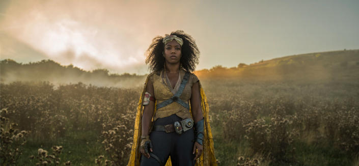 """This image released by Disney/Lucasfilm shows Naomi Ackie as Jannah in a scene from """"Star Wars: The Rise of Skywalker."""" (Disney/Lucasfilm Ltd.)"""