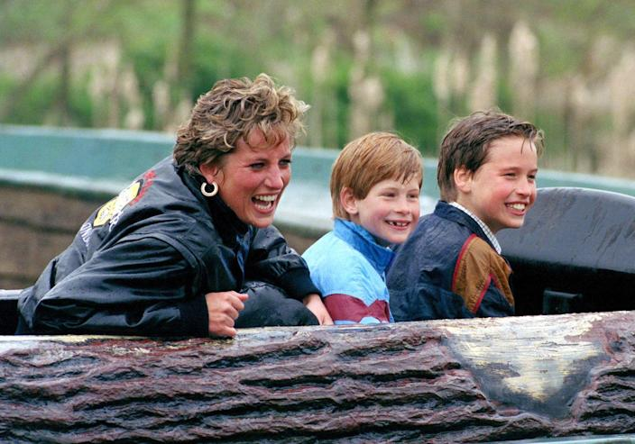 """<p>Harry, Diana, and William are the faces of pure joy after finishing a log ride at the Thorpe Park amusement park. The trio visited the park three years in a row during the Easter holidays, and during every visit, Diana reportedly insisted that they line up just like everyone else. A film crew joined the royals on the third visit in 1993, producing <a href=""""https://www.youtube.com/watch?v=tmIaQmY05io"""" rel=""""nofollow noopener"""" target=""""_blank"""" data-ylk=""""slk:one of the most famous clips"""" class=""""link rapid-noclick-resp"""">one of the most famous clips</a> of Diana and her kids.</p>"""