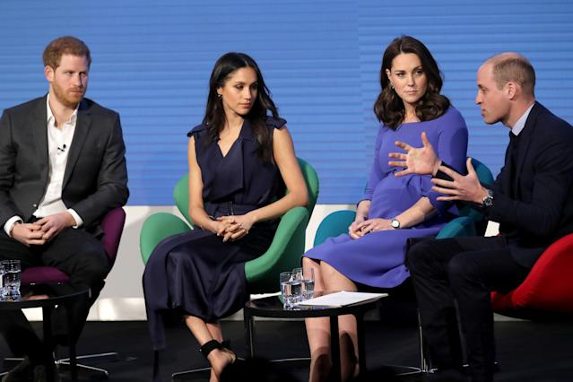 The Duke and Duchess of Cambridge have appeared with Meghan Markle and Prince Harry at an official event. (Photo: Getty)