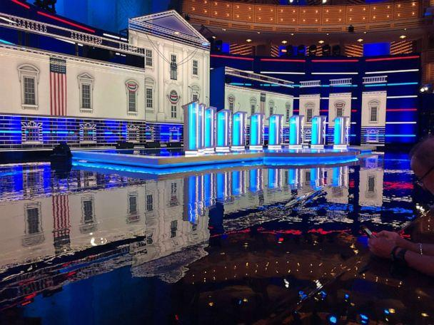 PHOTO: The venue of Wednesday's Democratic debate is pictured on June 26, 2019, in Miami. (Drew Millhon/ABC News)