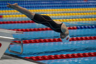 Dong Lu, from China, competes at Women's 100m Freestyle - S5 Heat 2 at the Tokyo Aquatics Centre during the Tokyo 2020 Paralympic Games, Thursday, Aug. 26, 2021, in Tokyo, Japan. (AP Photo/Emilio Morenatti)