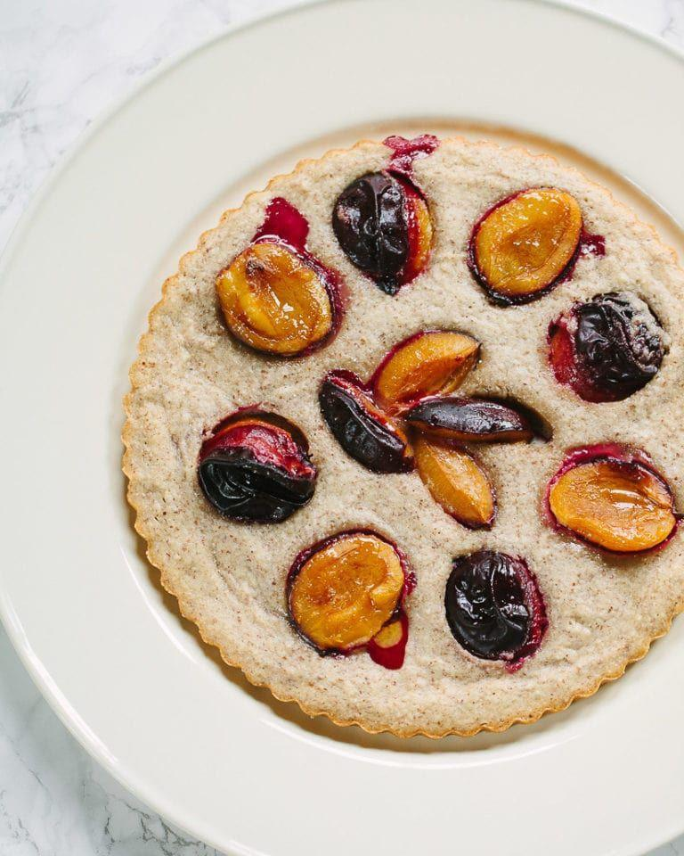 """<p>Get the <a href=""""https://familystylefood.com/plum-almond-cake/"""" rel=""""nofollow noopener"""" target=""""_blank"""" data-ylk=""""slk:French Almond Cake with Plums"""" class=""""link rapid-noclick-resp"""">French Almond Cake with Plums</a> recipe.</p><p>Recipe from Family Style Food.</p>"""