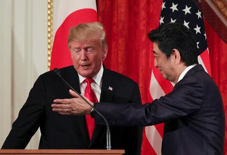 U.S. President Donald Trump attends a joint news conference with Japan's Prime Minister Shinzo Abe, at Akasaka Palace in Tokyo, Japan May 27, 2019. REUTERS/Athit Perawongmetha