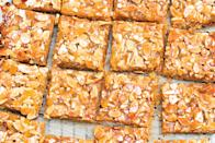 """Fresh and candied ginger team up to make an uplifting, zesty treat that can be prepared in any season. <a href=""""https://www.epicurious.com/recipes/food/views/ginger-and-almond-bars?mbid=synd_yahoo_rss"""" rel=""""nofollow noopener"""" target=""""_blank"""" data-ylk=""""slk:See recipe."""" class=""""link rapid-noclick-resp"""">See recipe.</a>"""