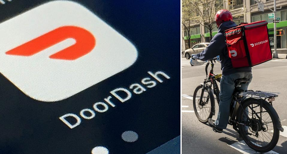 Pictured left is a screenshot of the DoorDash app and right is a delivery driver.