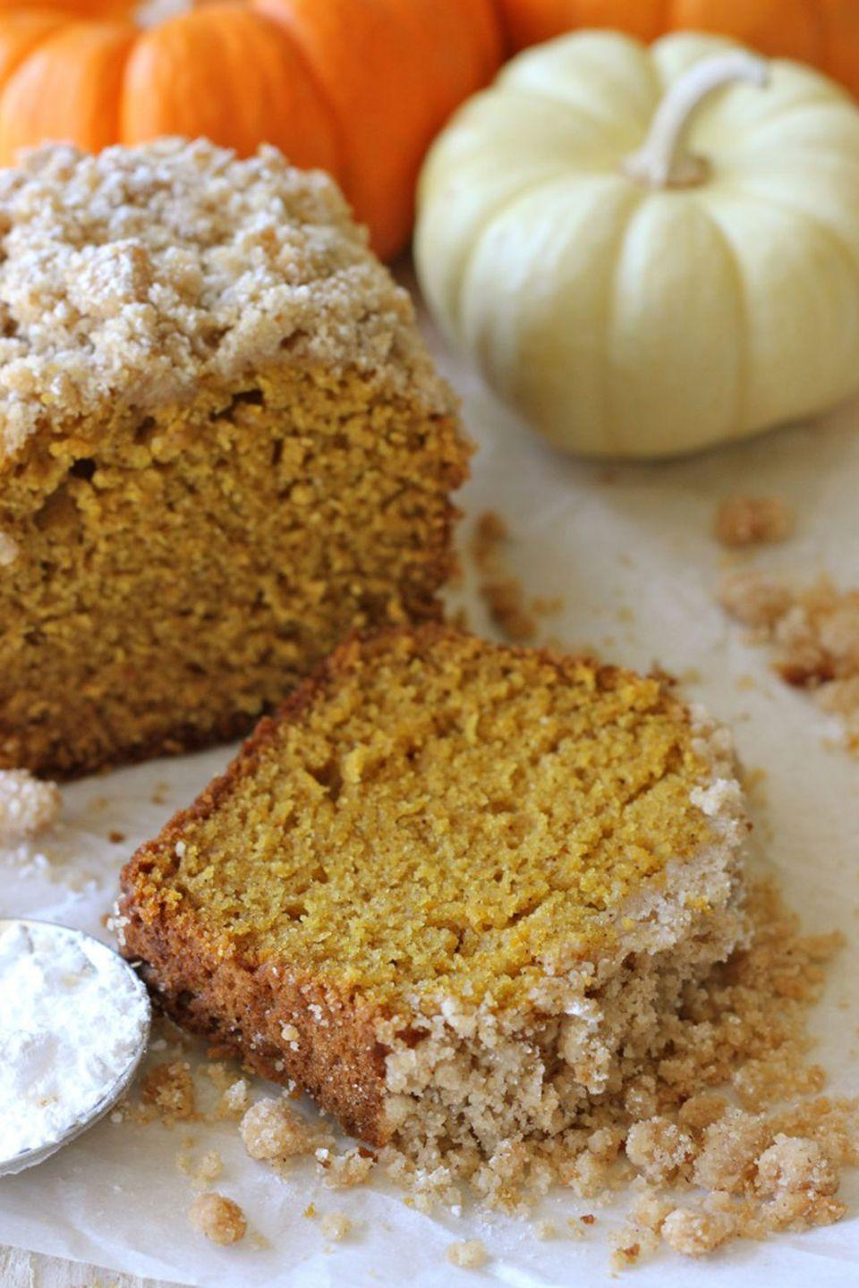 """<p>The crumb topping gives this pumpkin bread an extra kick of sweetness. </p><p><strong>Get the recipe at <a href=""""http://damndelicious.net/2012/11/02/crumbly-pumpkin-bread/"""" rel=""""nofollow noopener"""" target=""""_blank"""" data-ylk=""""slk:Damn Delicious"""" class=""""link rapid-noclick-resp"""">Damn Delicious</a>.</strong></p>"""