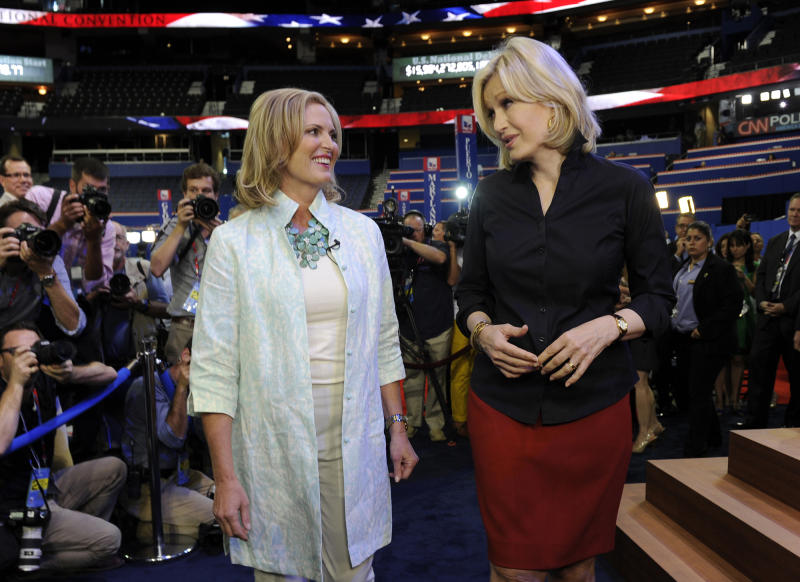 This Aug. 28, 2012 photo released by ABC shows Ann Romney, wife of U.S. Republican presidential candidate Mitt Romney, left, wearing a casual ensemble with ABC News' Diane Sawyer during an interview on the convention floor prior to Ann Romney's evening address at the Republican National Convention from Tampa, Fla. (AP Photo/ABC/Ida Mae Astute)