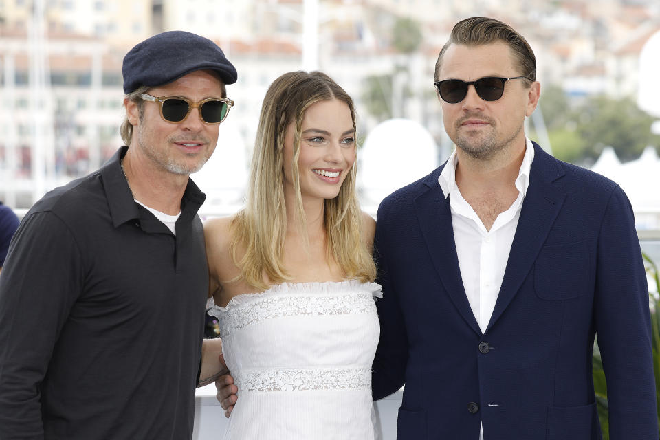 """Brad Pitt, Margot Robbie and Leonardo DiCaprio at the photo call for """"Once Upon A Time"""" during the 72nd Cannes Film Festival at the Palais des Festivals on May 22, 2019 in Cannes, France. (Photo by: P. Lehman) (Photo credit should read P. Lehman / Barcroft Media via Getty Images)"""