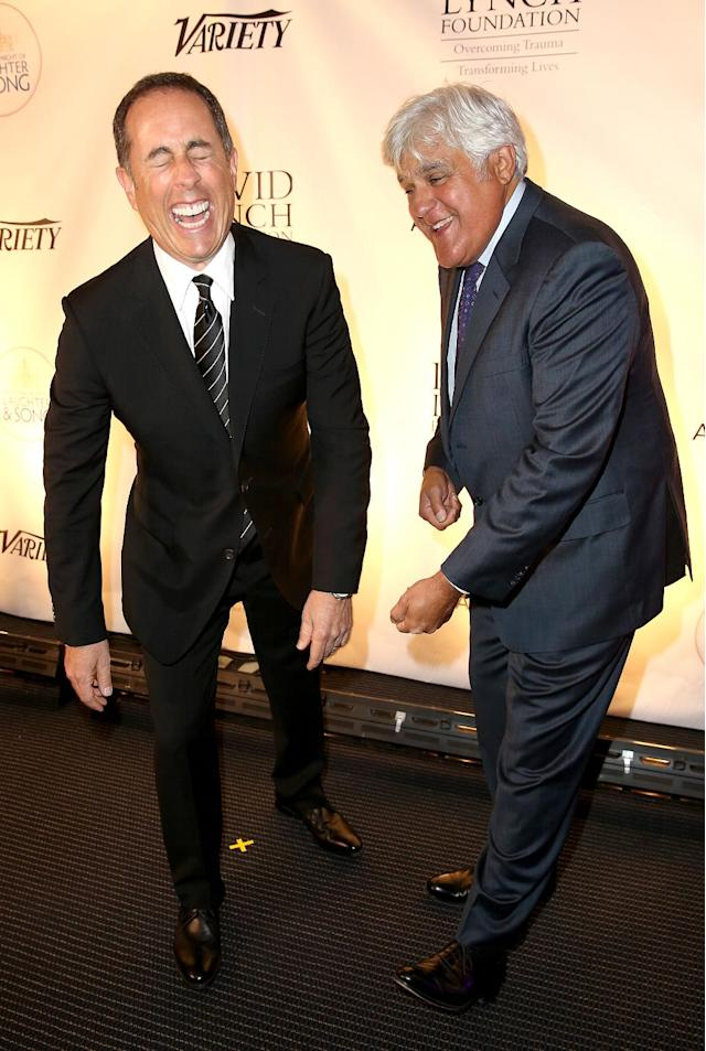 "<p>Seinfeld was happy to see his fellow comedian on the red carpet at the David Lynch Foundation's National Night of Laughter and Song in Washington, D.C. <a href=""https://www.yahoo.com/celebrity/jerry-seinfeld-hilariously-says-no-thanks-hug-kesha-200410254.html"" data-ylk=""slk:Kesha? Not so much…;outcm:mb_qualified_link;_E:mb_qualified_link"" class=""link rapid-noclick-resp newsroom-embed-article"">Kesha? Not so much…</a> (Photo: Tasos Katopodis/Getty Images for David Lynch Foundation) </p>"