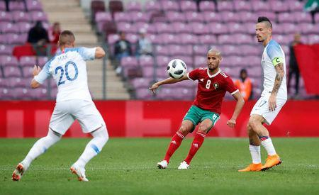 Soccer Football - International Friendly - Morocco vs Slovakia - Stade de Geneve, Geneva, Switzerland - June 4, 2018 Morocco's Karim El Ahmadi in action REUTERS/Denis Balibouse