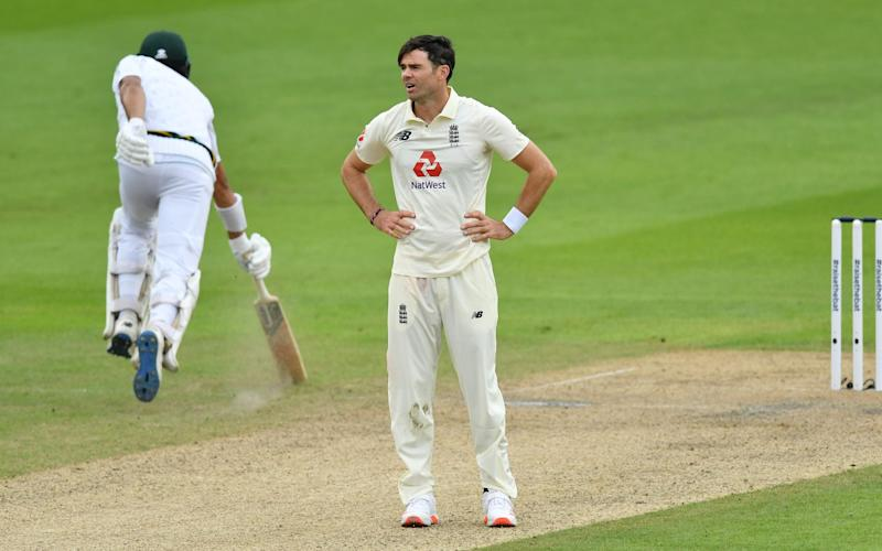 James Anderson of England reacts during Day Two of the 1st #RaiseTheBat Test Match between England and Pakistan - GETTY IMAGES