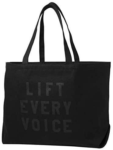 "<p><span>rayo & honey""Lift Every Voice"" Quote Black Canvas Tote Bag</span> ($65)</p>"