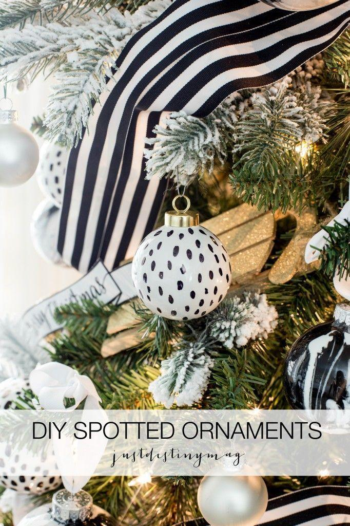 """<p>Have yourself an insanely chic Christmas with this spotted black and white DIY ornament.</p><p>Get the tutorial at <a href=""""https://justdestinymag.com/diy-black-and-white-spotted-ornaments/"""" rel=""""nofollow noopener"""" target=""""_blank"""" data-ylk=""""slk:Just Destiny"""" class=""""link rapid-noclick-resp"""">Just Destiny</a>.<br></p>"""