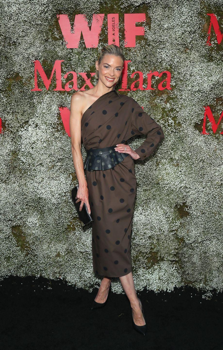 <p>We love Jaime King's big polka dot moment. The one shoulder tempers the sweetness and the coordinating belt is on point.</p>