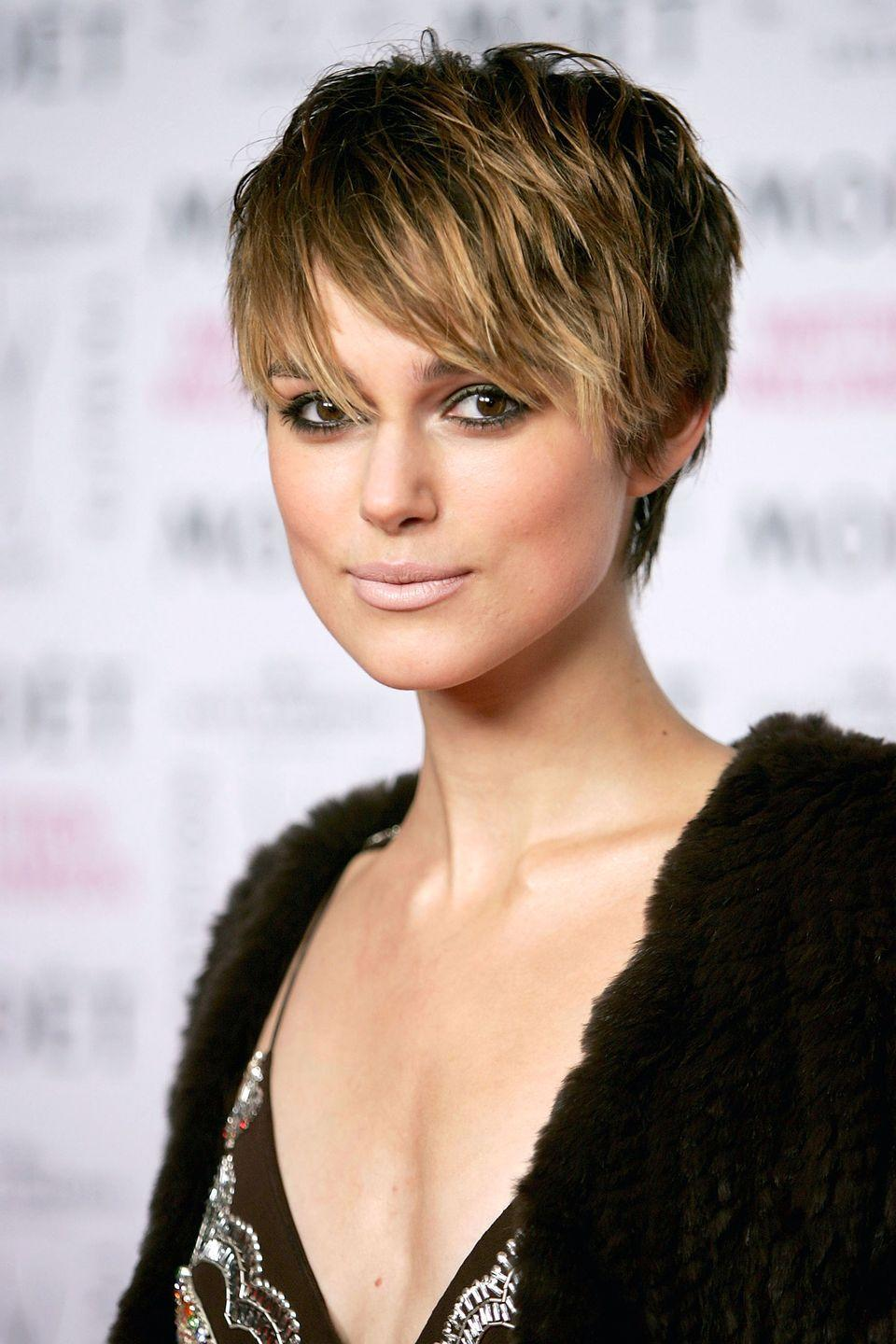 <p>Actress Kiera Knightley goes full-on cool-girl with textured bangs and short layers.</p>