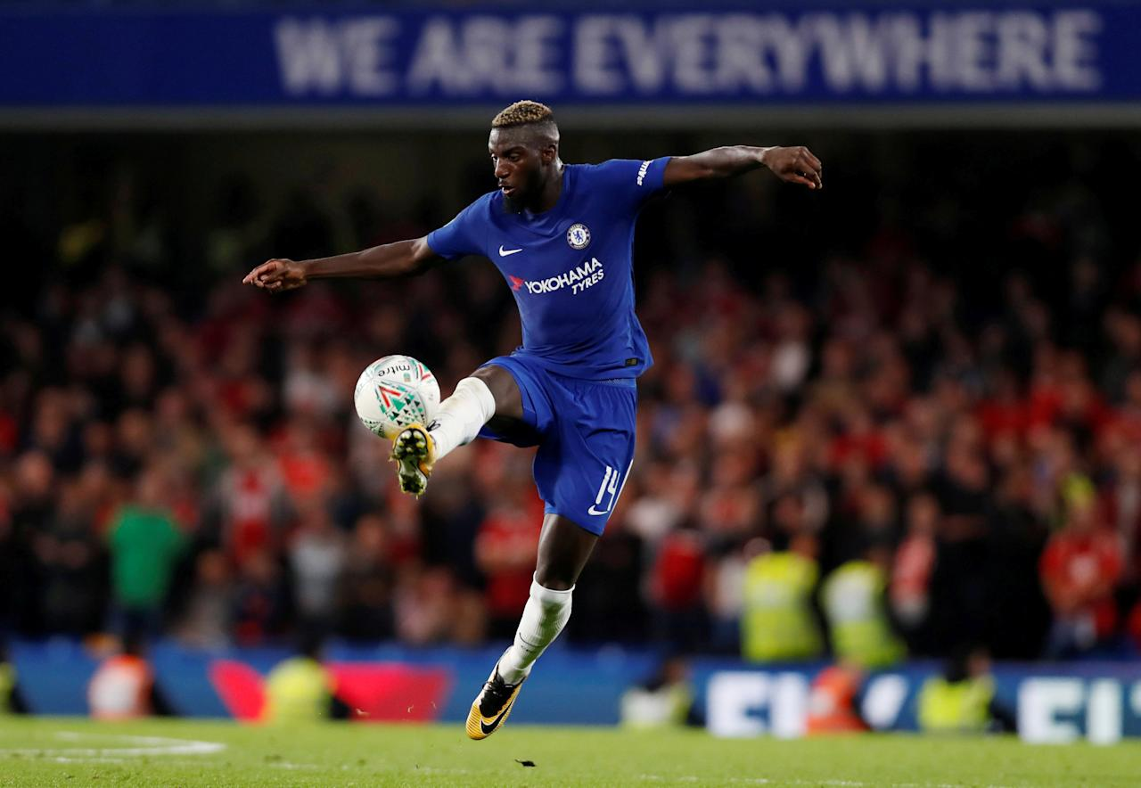 """FILE PHOTO: Soccer Football - Carabao Cup Third Round - Chelsea vs Nottingham Forest - Stamford Bridge, London, Britain - September 20, 2017  Chelsea's Tiemoue Bakayoko in action  Action Images via Reuters/Paul Childs  EDITORIAL USE ONLY. No use with unauthorized audio, video, data, fixture lists, club/league logos or """"live"""" services. Online in-match use limited to 75 images, no video emulation. No use in betting, games or single club/league/player publications. Please contact your account representative for further details."""