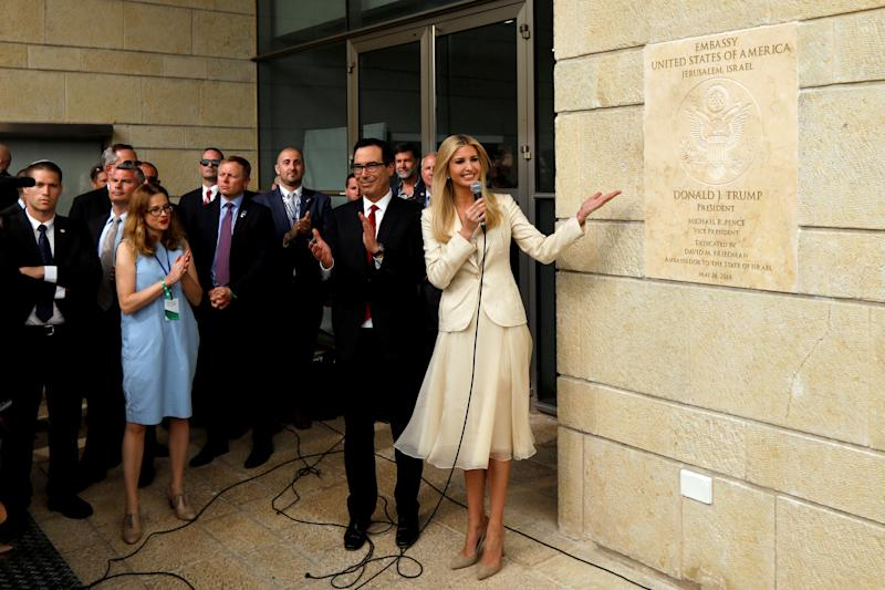 Ivanka Trump and Treasury Secretary Steven Mnuchin stand next to the dedication plaque at the new U.S. Embassy in Jerusalem, May 14, 2018. (Photo: Ronen Zvulun/Reuters)