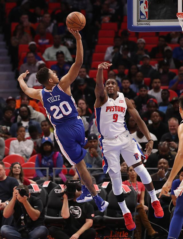Markelle Fultz extends his right arm in Monday's game against Detroit. (Getty Images)