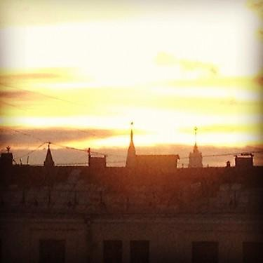 Sunrise in Moscow, with Kremlin in the distance. (#NickInEurope)
