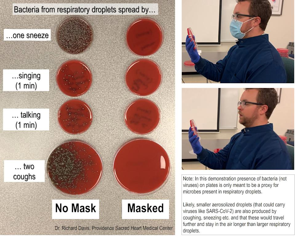 A microbiologist's COVID-19 face mask test has divided social media. Photo: Twitter/richdavisphd.