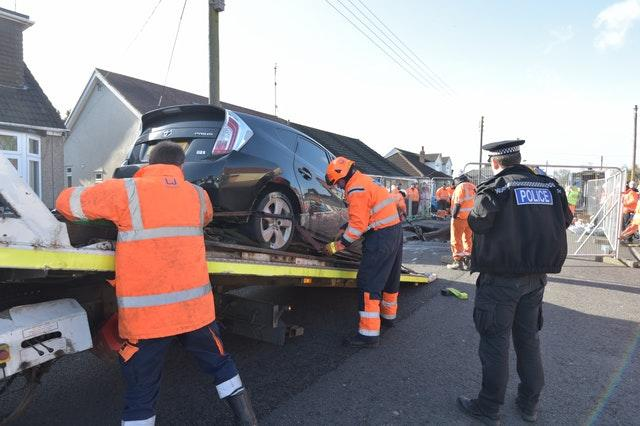 The Toyota was removed shortly before midday on Monday (Nick Ansell/PA)